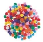 Pompons (10 mm) kleurrijk gesorteerd, 200 stuks