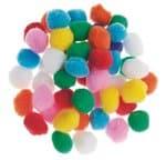 Pompons, ø 25 mm, kleurig gesorteerd, 50 stuks