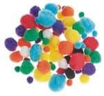 Pompons (10-25 mm) kleurrijk gesorteerd, 78 stuks