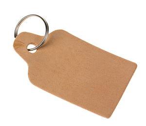 Leren sleutelhanger - Etiket (80 x 43 mm)